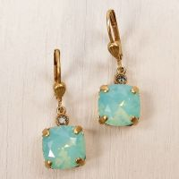 Catherine Popesco Square Crystal Earrings in Pacific Opal ...