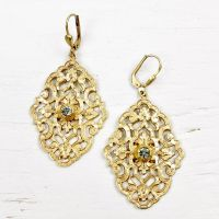 Catherine Popesco Filigree Earrings with Crystal - TALICH