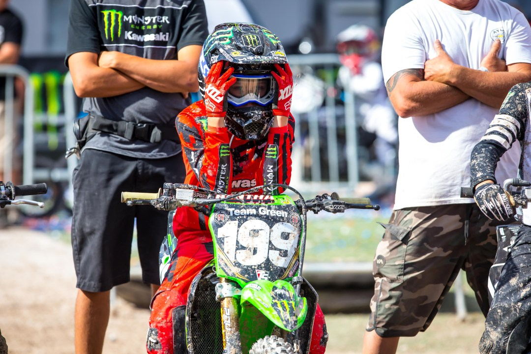 Team Green Kawasaki's Ryder DiFrancesco getting focused on the start gate in Las Vegas at the final round of Supercross Futures at Sam Boyd Stadium. Photo Credit: Feld Entertainment