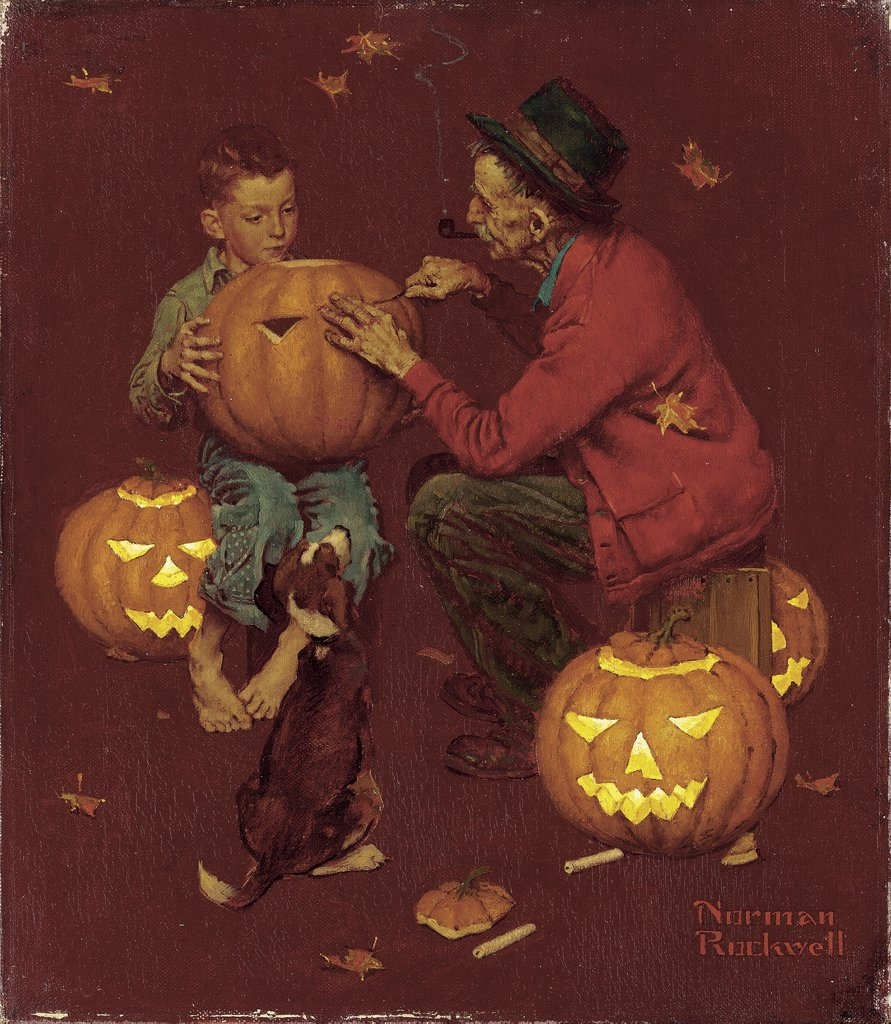 Witches Fall Wallpapers Halloween Norman Rockwell 1894 1978 American Stock Photo