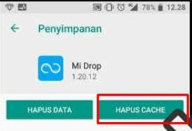 hapus cache mi drop error