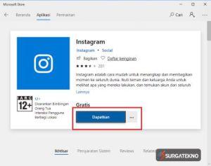 dapatkan aplikasi instagram di windows 10