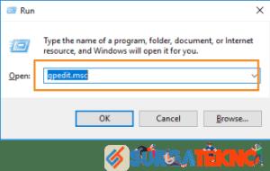 tekan windows + r dan tulis gpedit.msc