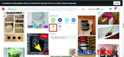 cara copy link postingan pinterest