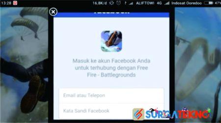masukkan username dan password facebook untuk daftar akun baru free fire