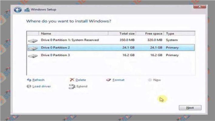 Kemudian atur partisi harddisk untuk tempat Windows 10