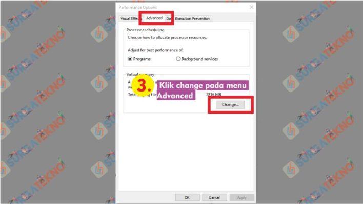 Klik Change pada menu Advanced