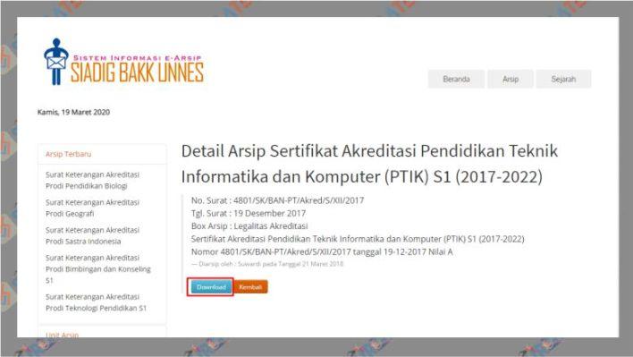 Klik Download untuk Mulai Mengunduh Sertifikat Akreditasi - UNNES