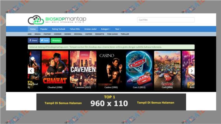 Tampilan Situs BioskopMantap