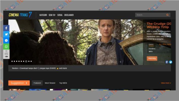 Tampilan Situs CinemaTrans7