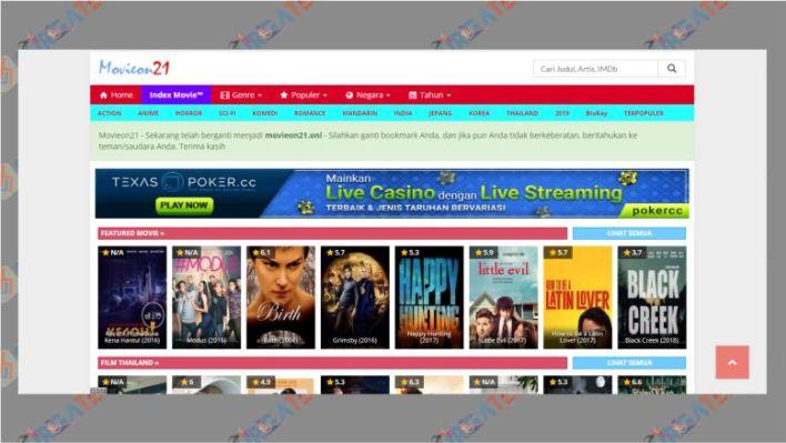 Tampilan Situs Movieon21