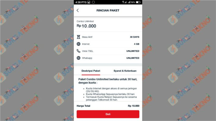 Deskripsi paket combo unlimited Telkomsel 10 ribu
