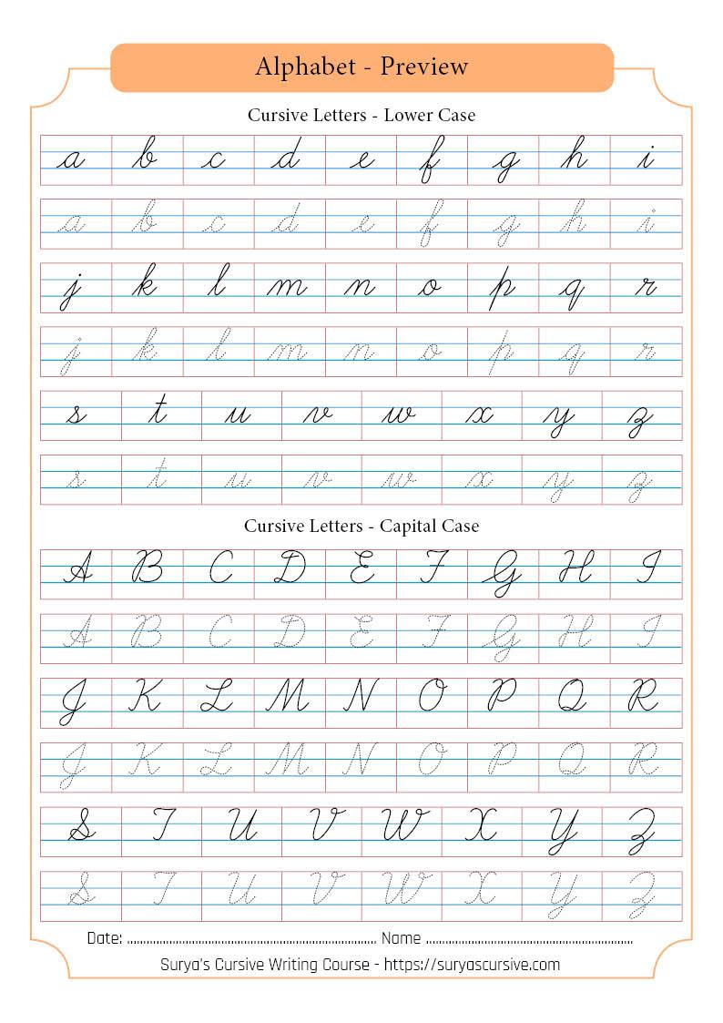 Capital Cursive Writing : capital, cursive, writing, Indian, Cursive, Letters, SuryasCursive.com