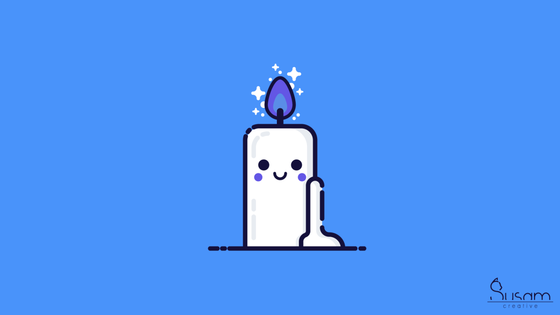 a candle with a cute face on it, burning a purple flame on a blue background