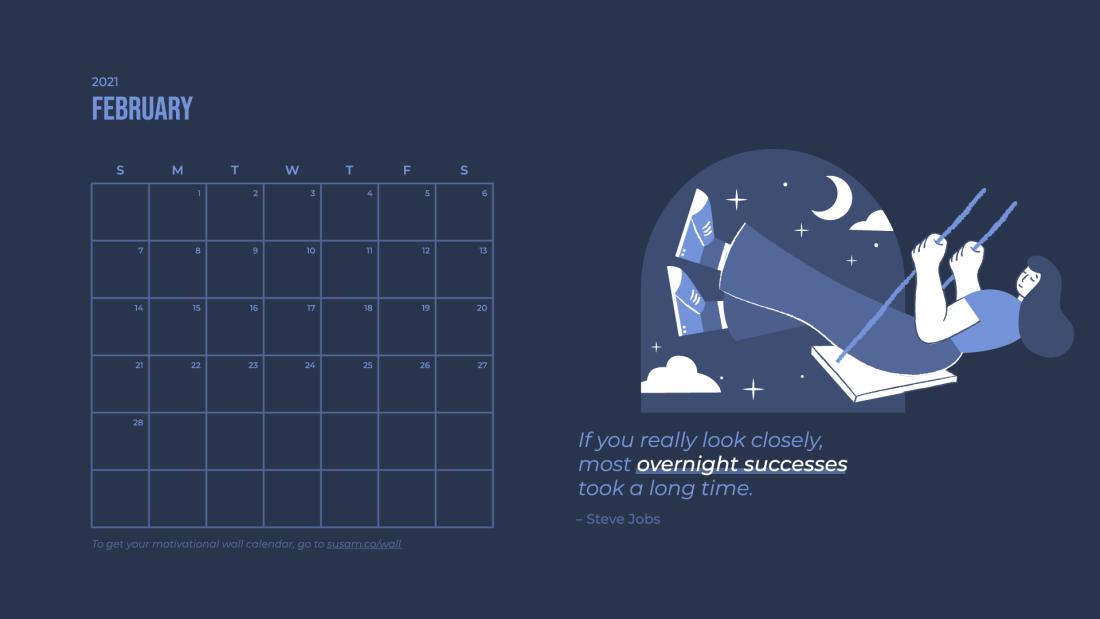 2021 February Motivational Wallpaper –with Calendar 1