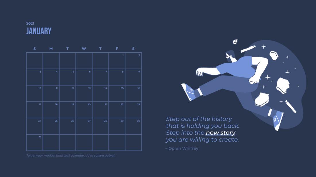 2021 January Motivational Wallpaper –with Calendar 3