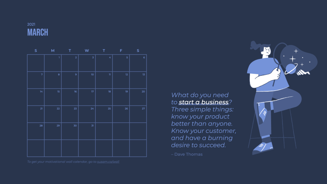 2021 March Motivational Wallpaper –with Calendar 1