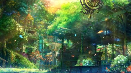 garden spring church anime wallpapers fantasy scenery background desktop suwalls town something backgrounds wall everyone music