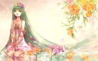 Girl in the flower garden wallpaper