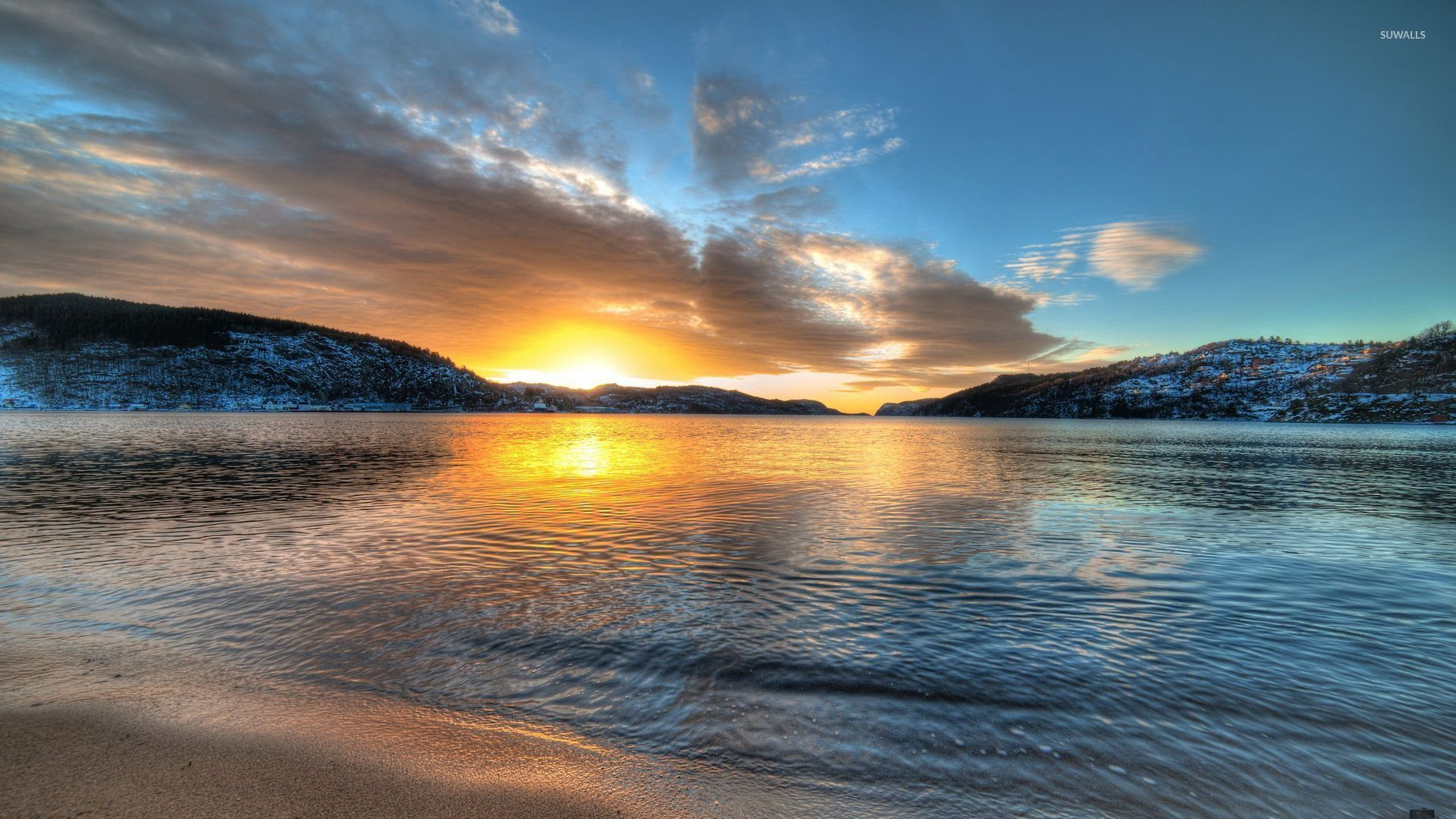 golden sunset on the