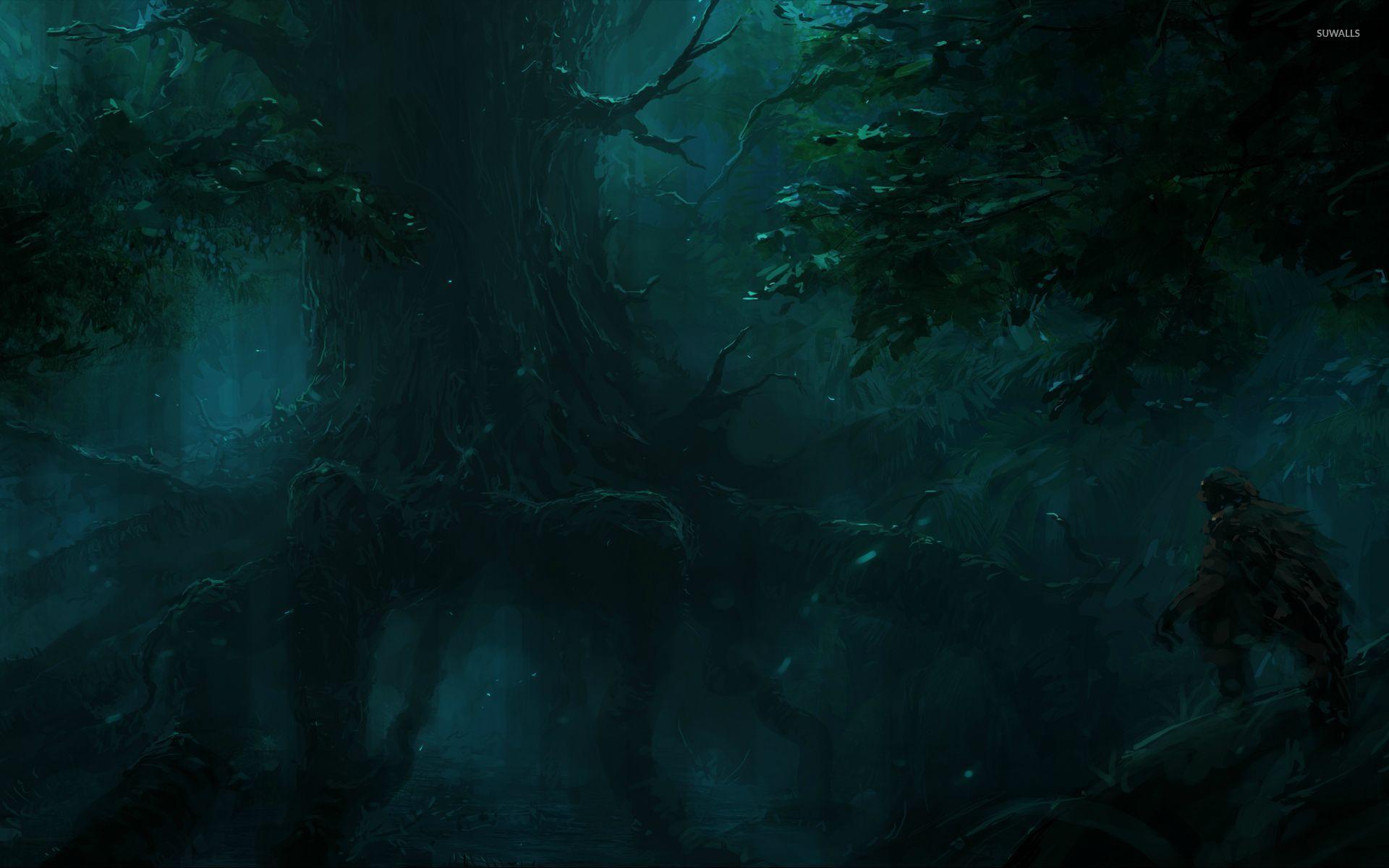 hunter in the dark forest wallpaper - fantasy wallpapers - #29360