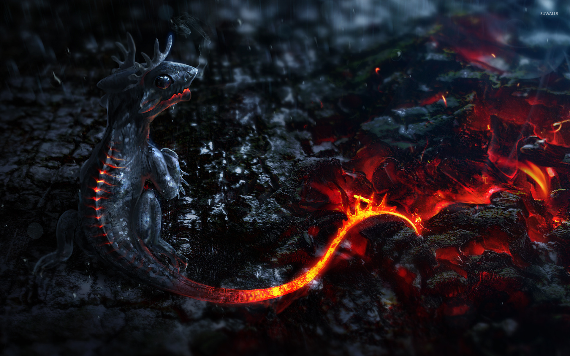 lava dragon wallpaper fantasy