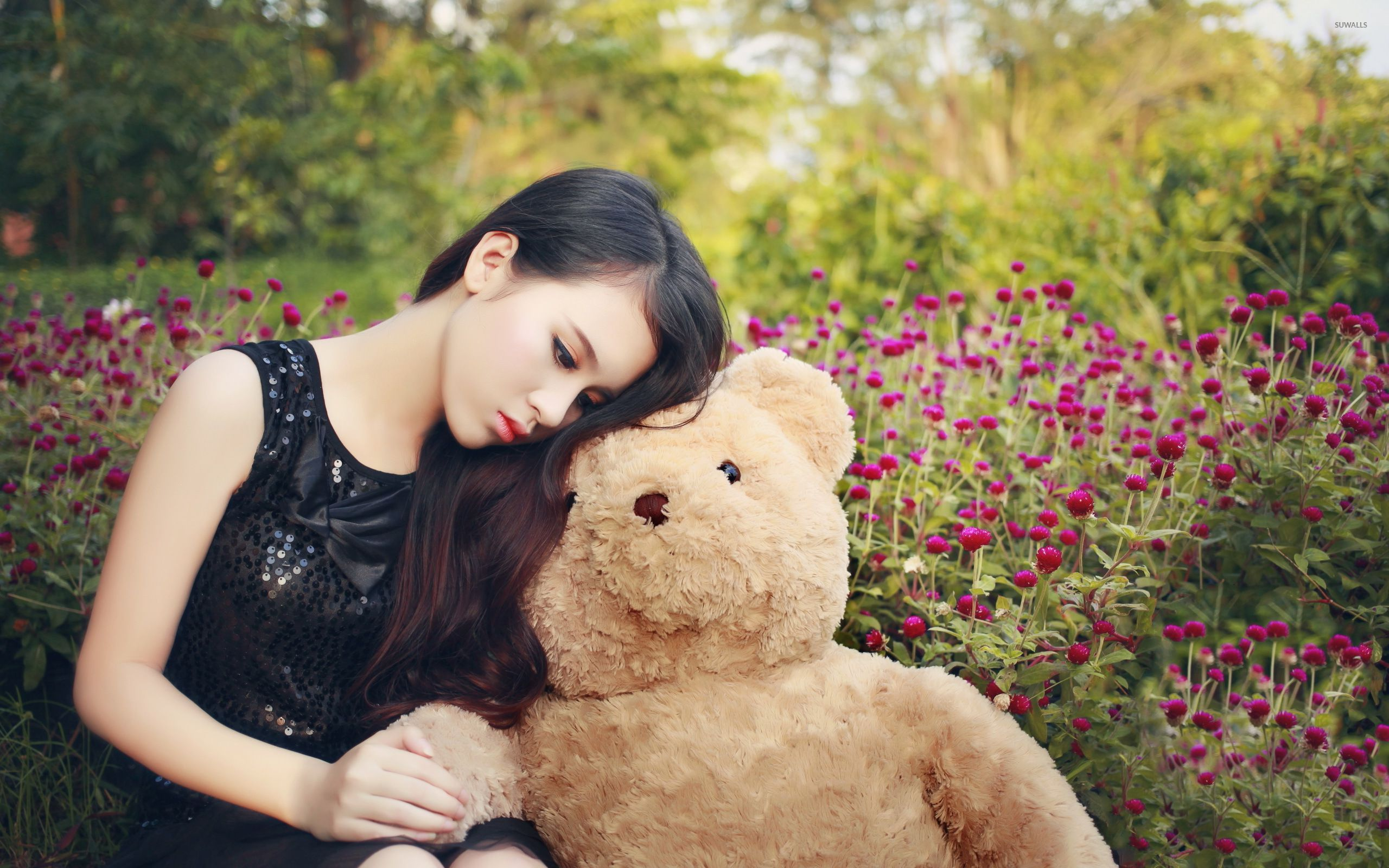 cute asian girl with a teddy bear wallpaper - girl wallpapers - #54048