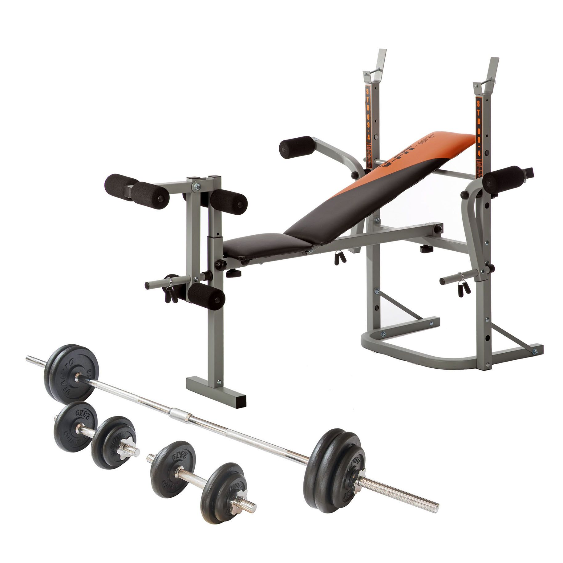 V Fit Folding Weight Bench And Viavito 50kg Cast Iron