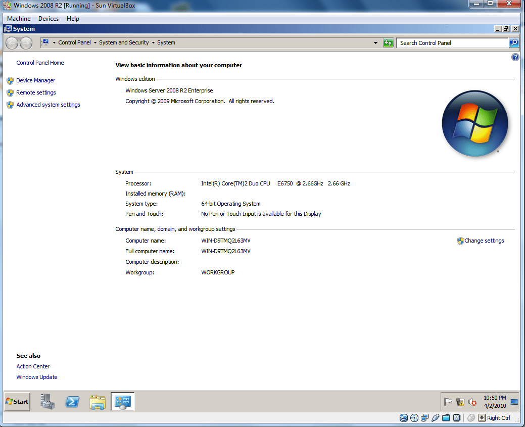 Install Windows 2008 R2 on VirtualBox