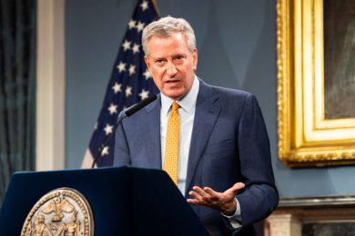 NEW YORK, UNITED STATES - MARCH 15, 2020:New York City Mayor Bill de Blasio (D) speaks at a press conference about COVID-19 and the closing of K-12 public schools in New York City.