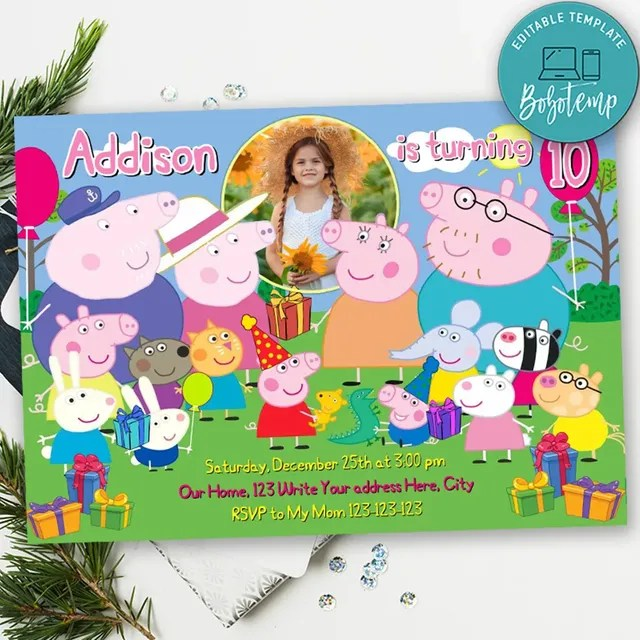 peppa pig birthday invitation with photo printable diy