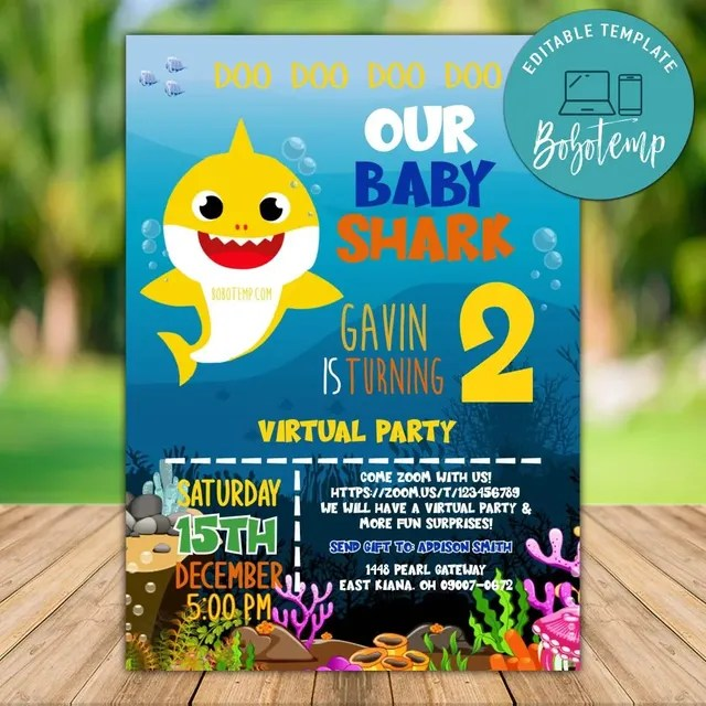 printable baby shark virtual party invitation template diy