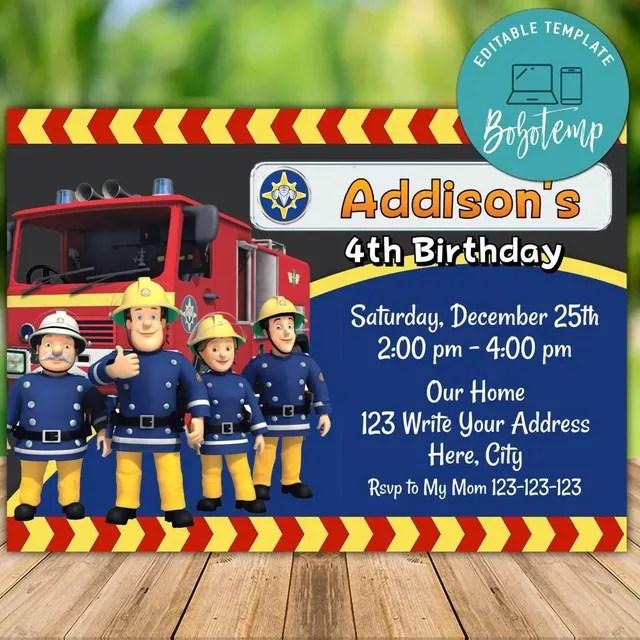 editable fireman sam birthday invitation instant download