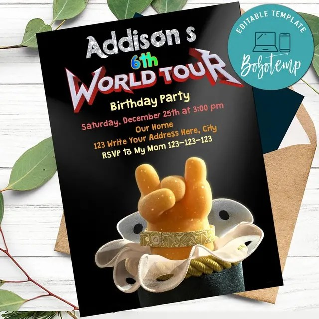 trolls world tour invitation printable instant download