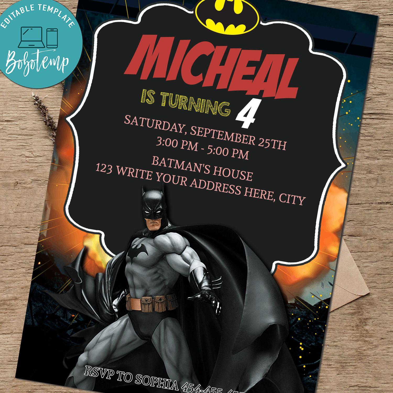 superhero boy birthday invitation batman party invite editable