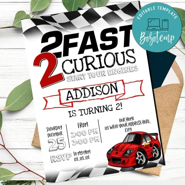 2 fast 2 curious racing birthday invitation printable diy