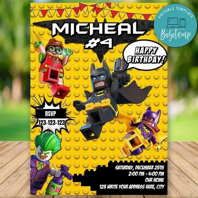 editable lego batman birthday invitation instant download