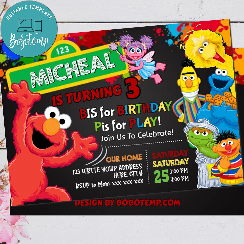elmo birthday invitation printed sesame street invite printable