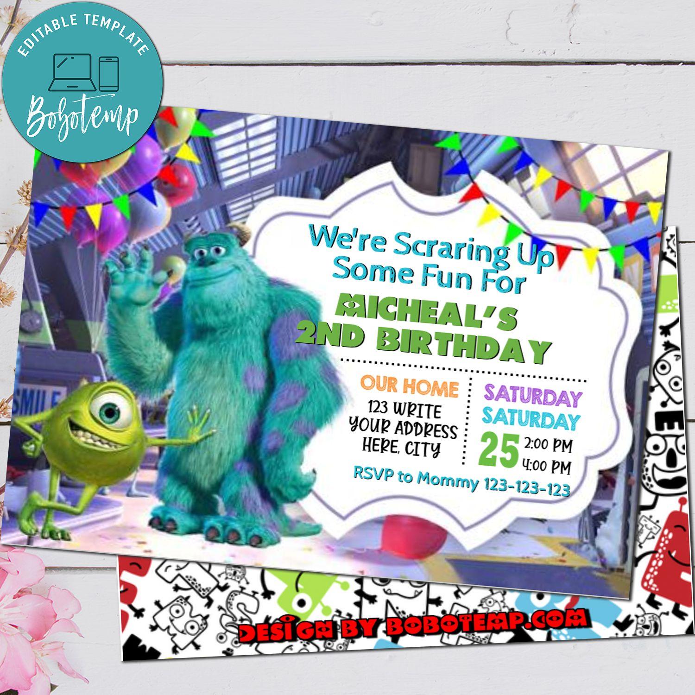 editable monster inc birthday invitations instant download