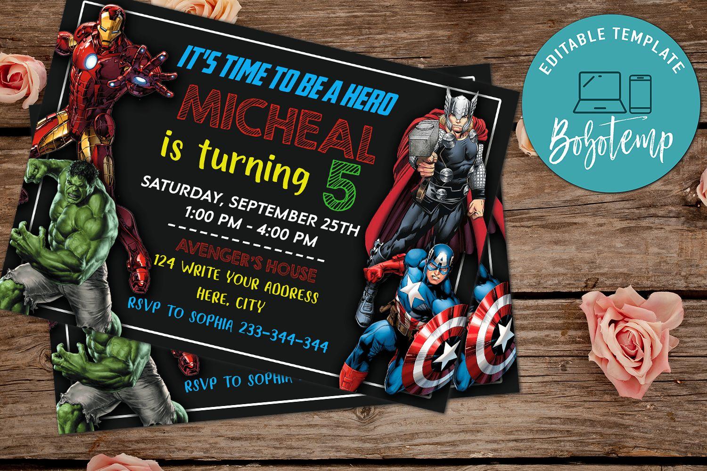 avenger birthday invitation superhero birthday invitation diy