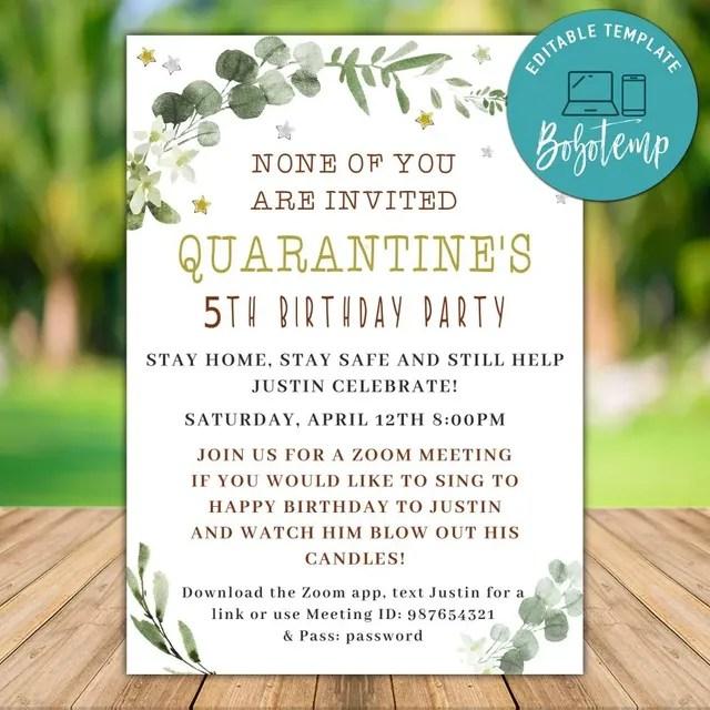 editable quarantine birthday invitation instant download