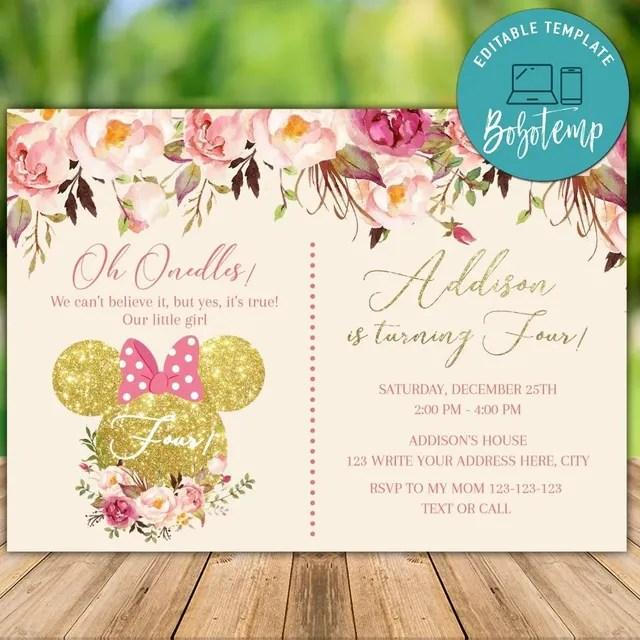 printable minnie mouse pink gold glitter 4th birthday invites