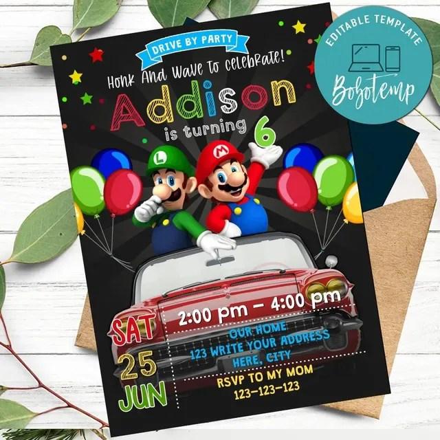 super mario drive by birthday parade invitation printable diy