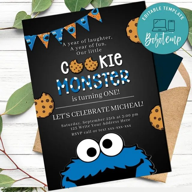 editable cookie monster invitation first birthday digital file