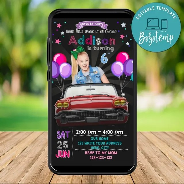 mobile jojo siwa drive by birthday parade evite invitation diy