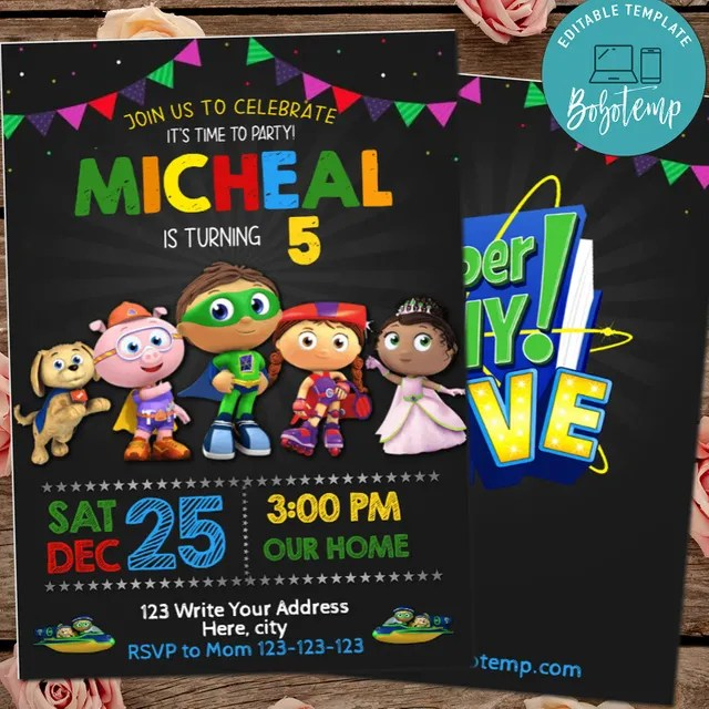 editable super why birthday invitation digital file