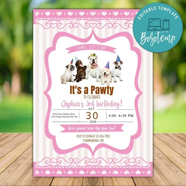 printable dog birthday party invitation template instant download