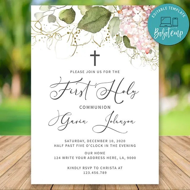 editable blush floral first holy communion invitation template