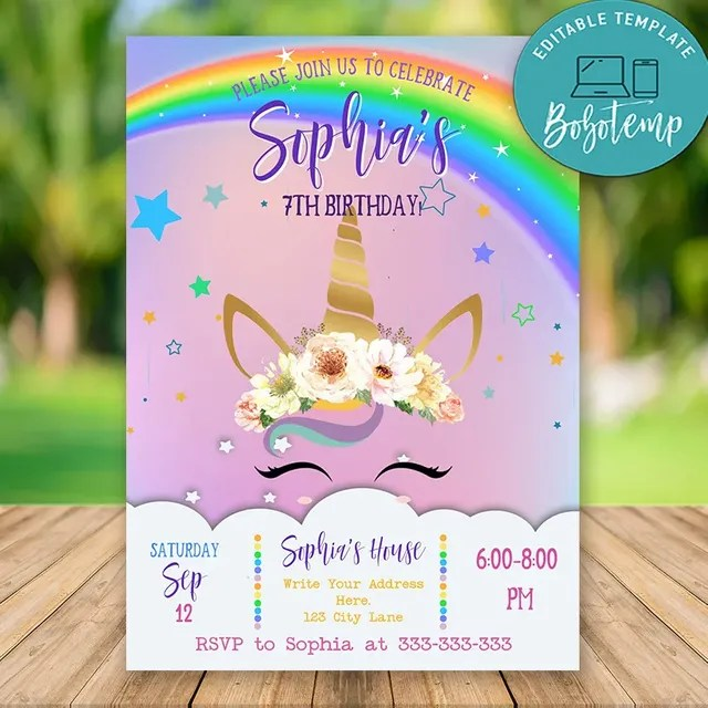 editable happiest unicorn birthday invitations instant download