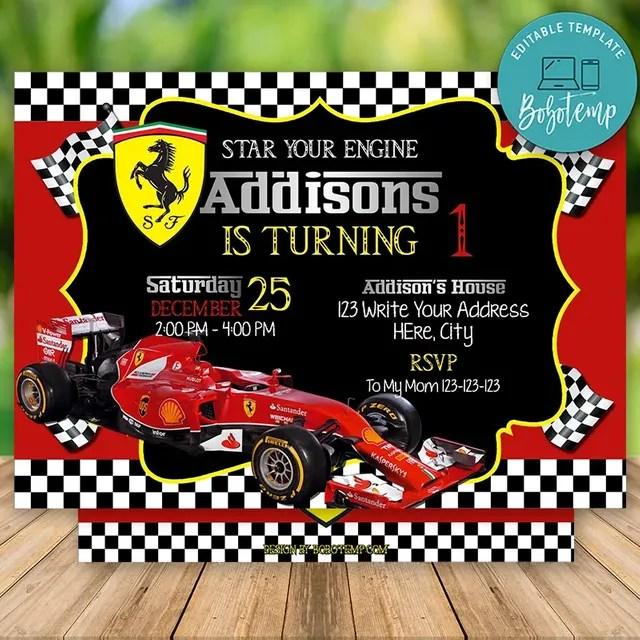 editable ferrari racing car birthday invitation instant download